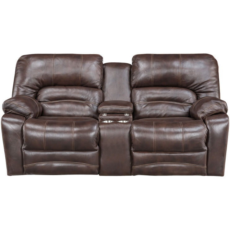 Stansted Choc Pwr Rcl Console Loveseat