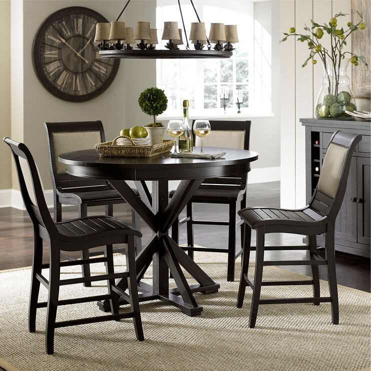 Willow Distressed Black Round Counter Table