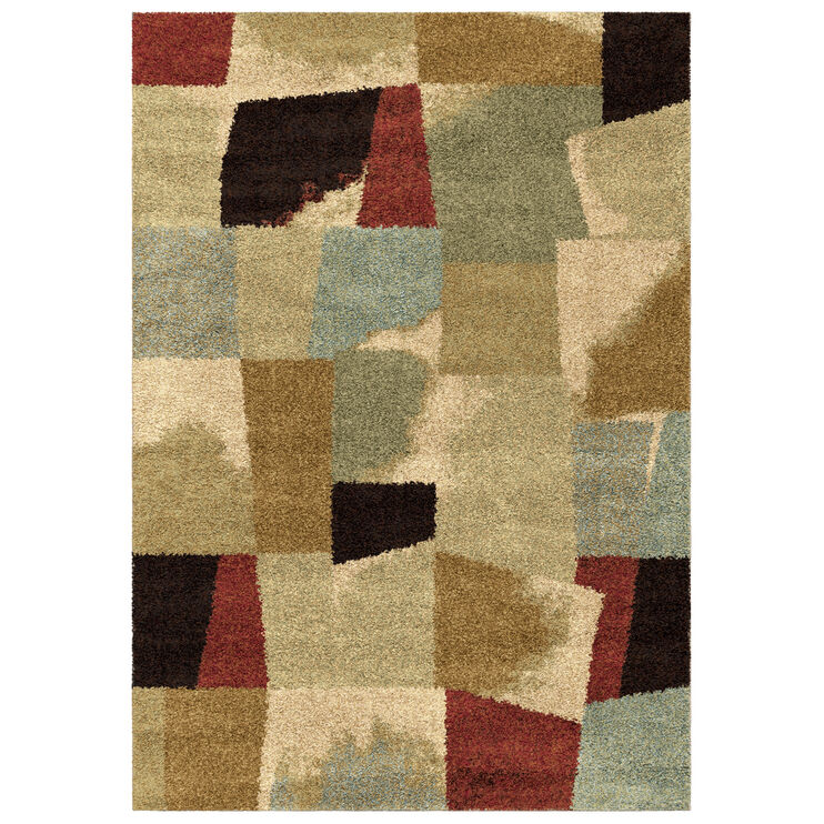 Wild Weave Rampart Bisque Multi Color Blocks 5 x 8 Rug