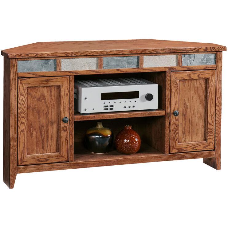 Evanston Antique Oak 50 Inch Corner Console
