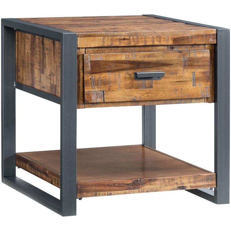 Loftworks Distressed Brown 1 Drawer End Table