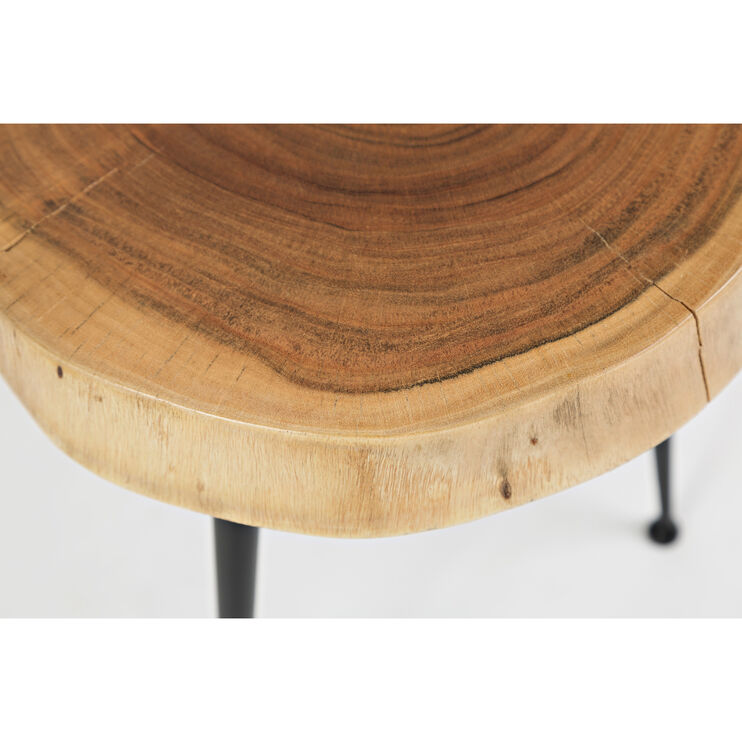 Global Archive Solid Acacia Two Wood Tables Metal Legs