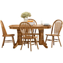 Jefferson Chestnut 5 Piece Laminate Trestle Set
