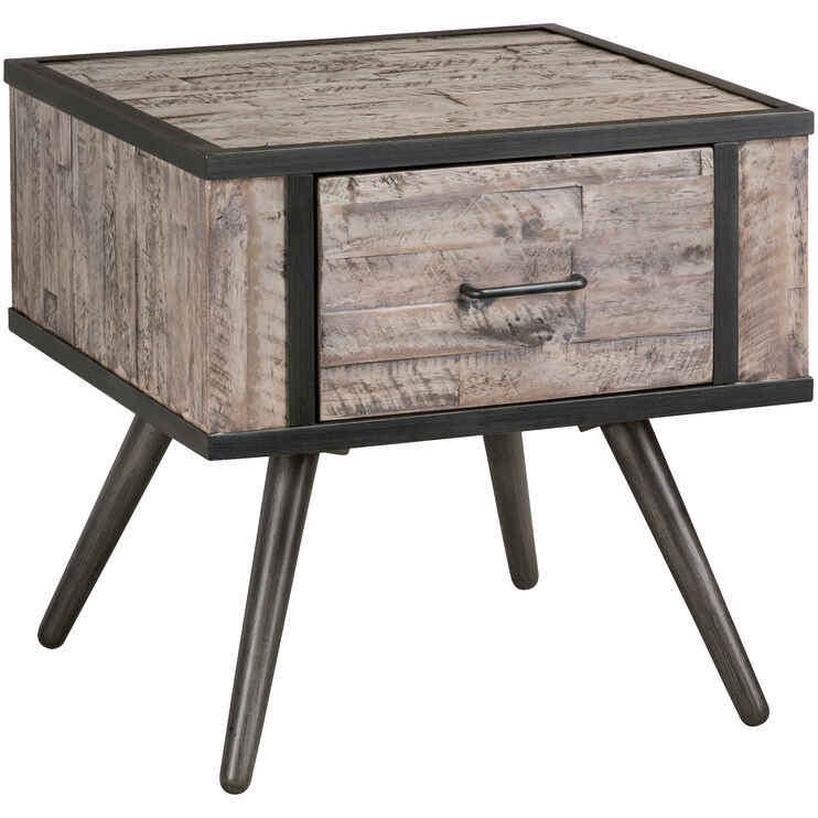 American Retro Gray Wash Accent Table