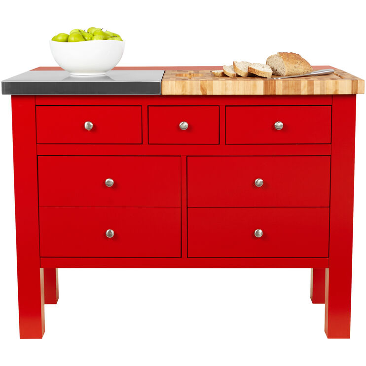 Alma Red Kitchen Island