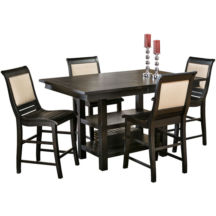 Willow Distressed Black 5 Piece Rectangular Counter Set