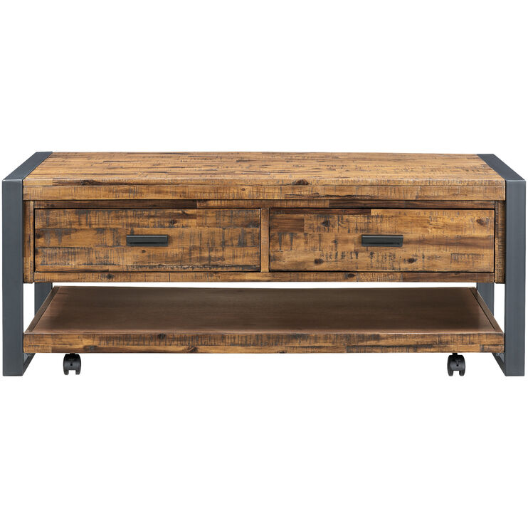 Loftworks Distressed Brown Two Drawer Coffee Table