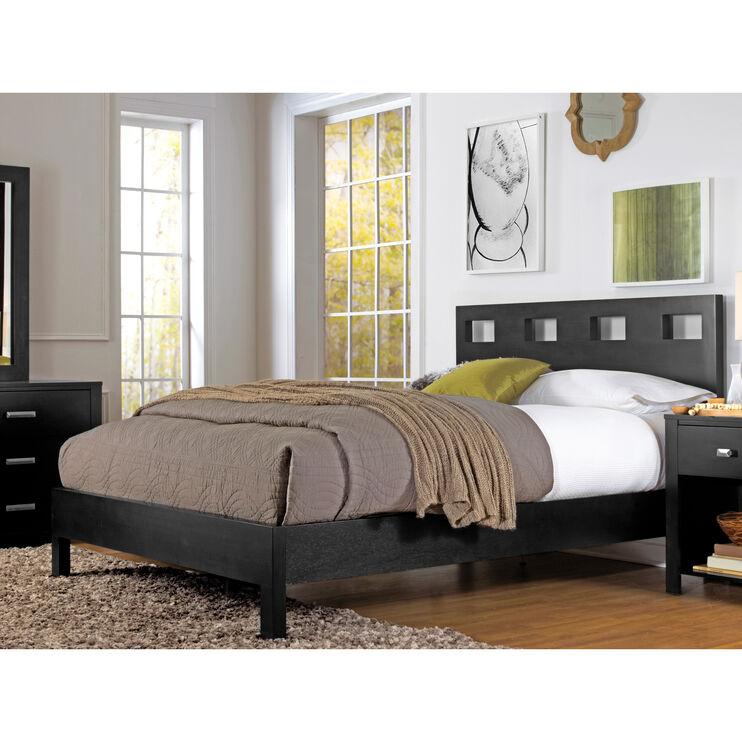 Riva Black King Platform Bed