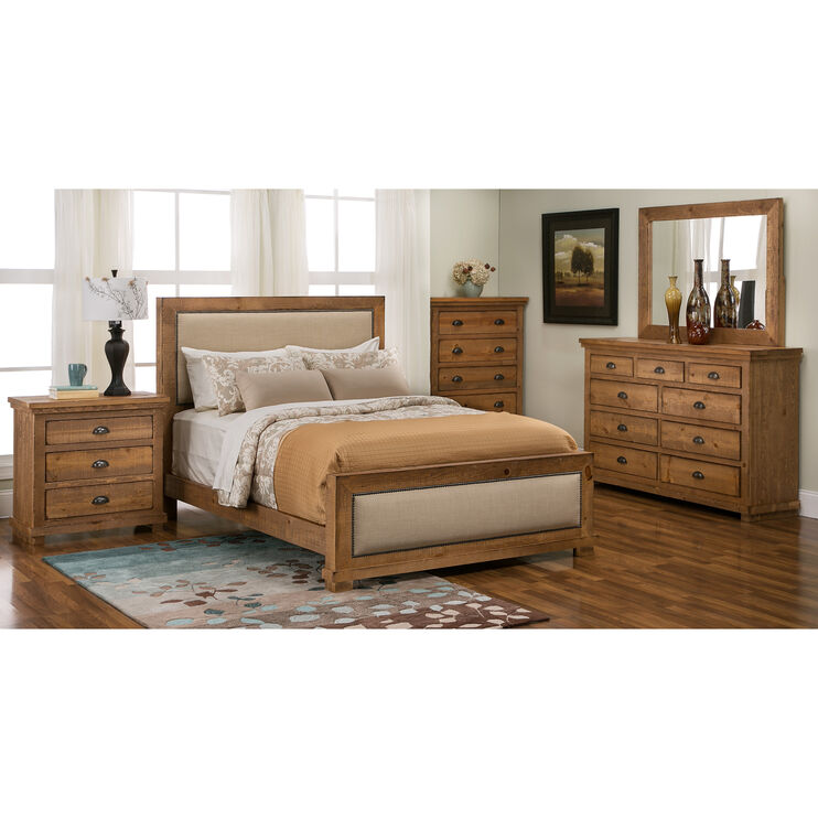 Willow Distressed Pine Queen Upholstered Bed