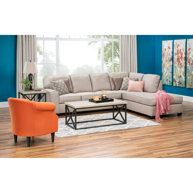 Wales 2pc Ecru Rght Chaise Sectional