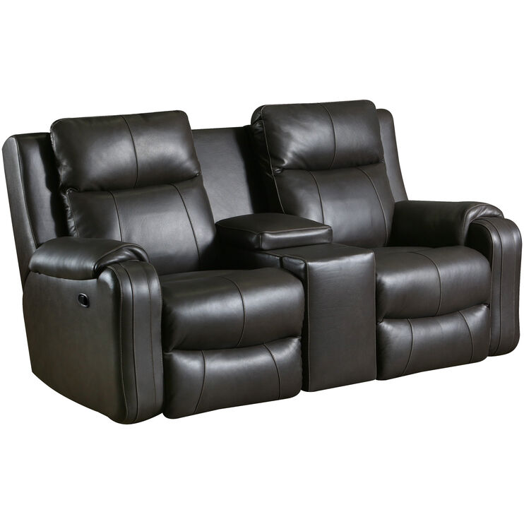 Contour Leather Fossil Reclining Console Loveseat