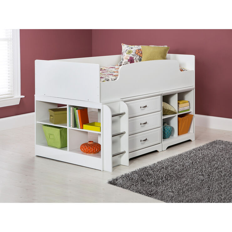 Lulu White Storage Loft Bed