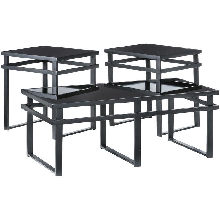 Laney Black Glass Set of 3 Tables