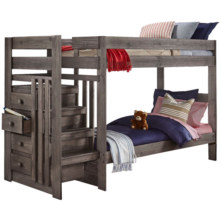 Haley Gray Twin Over Twin Stairway Bunk Bed