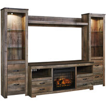 Trinell Brown 4 Piece Infrared Fireplace Entertainment Center