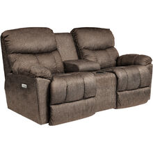 Morrison Cappuccino Power Plus Reclining Console Loveseat