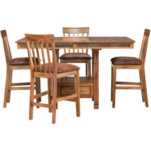 Sedona Rustic Oak 5 Piece Counter Dining Set