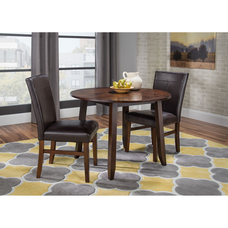 Kona 3 Piece Raisin Parson DropLeaf Dining Set