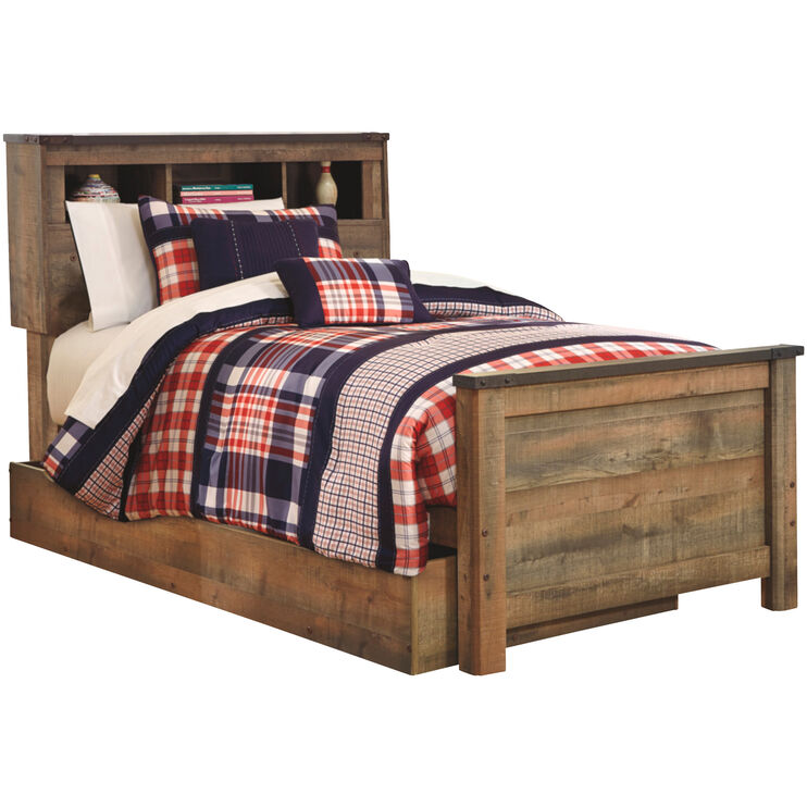 Trinell Brown Twin Trundle Bookcase Bed