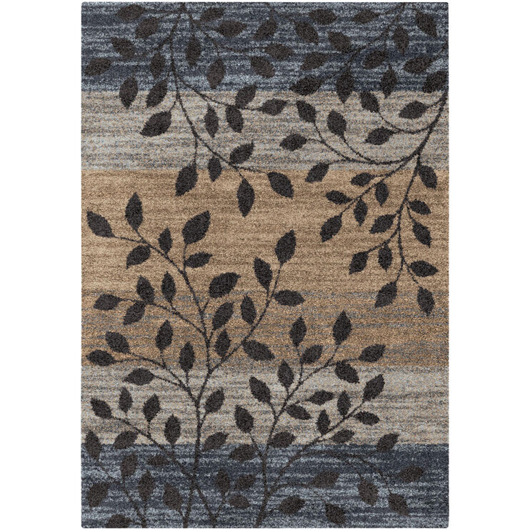 Majestic Shag Odessa Blue and Gray Leaves 5x8 Rug