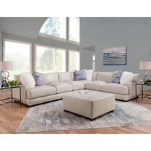 Wake Ivory Leather 4 Piece Sectional