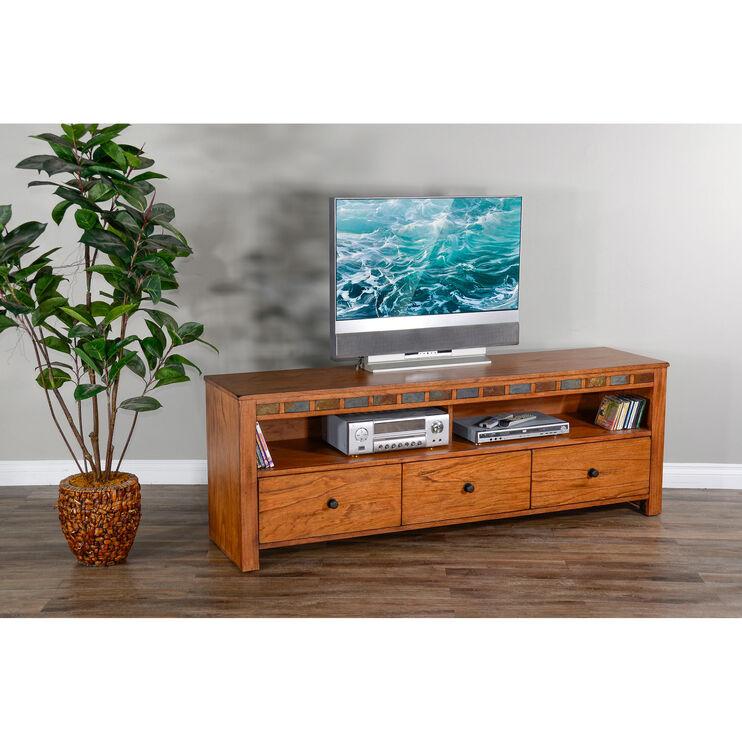 Sedona Rustic Oak 74 Inch TV Console