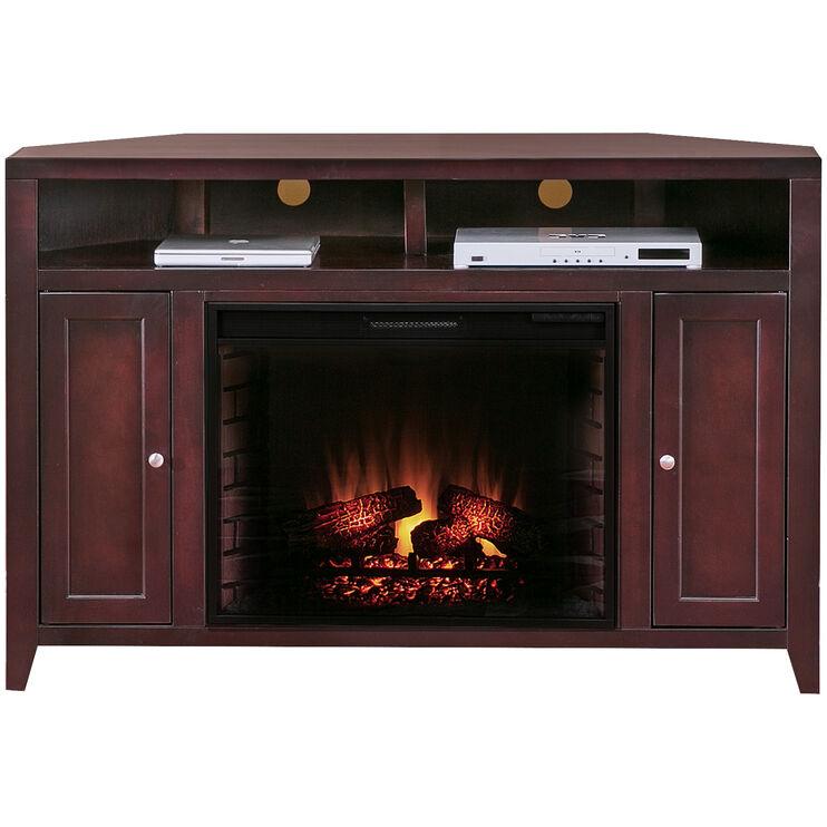 Lockwood Mocha Corner Fireplace Console