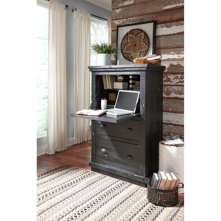 Willow Black Armoire Desk