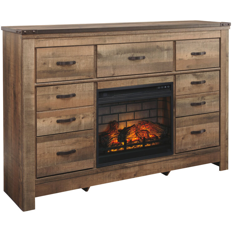 Trinell Brown Infrared Fireplace Dresser