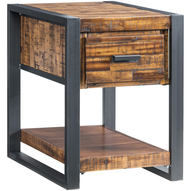 Loftworks Distressed Brown Chairside Table