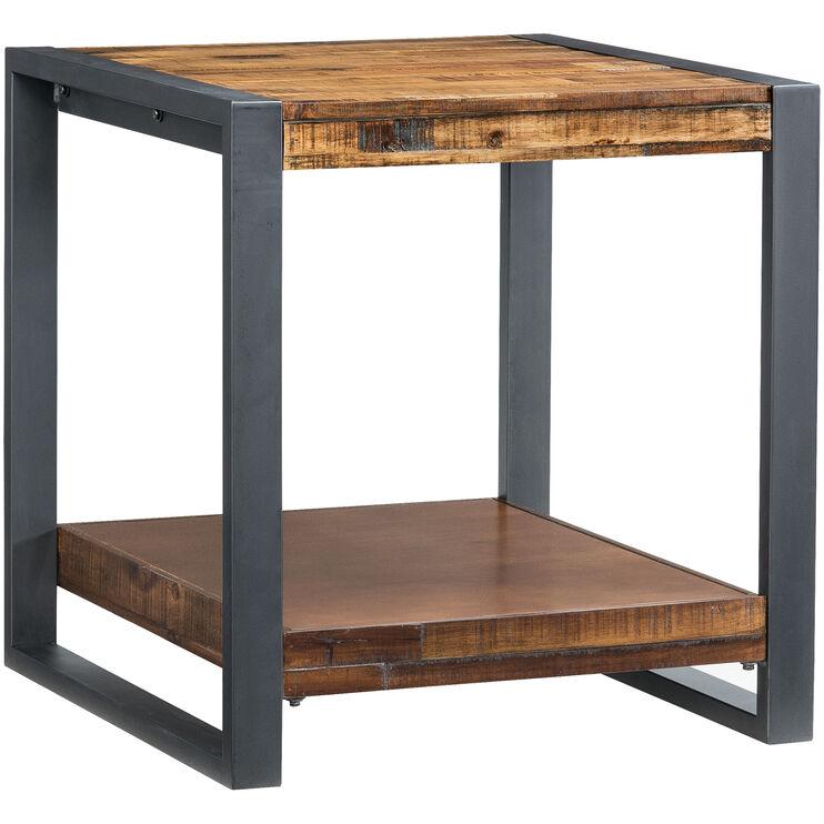 Loftworks Distressed Brown End Table