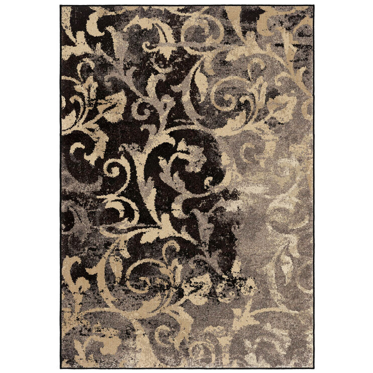 Heritage Distressed Gray Vines Scroll 5 x 8 Rug