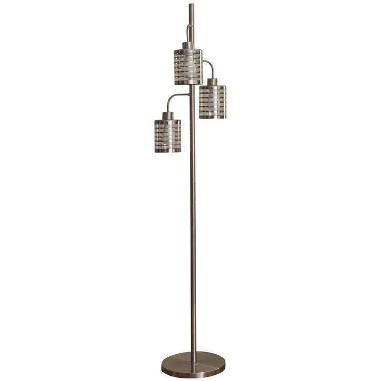 Whitney Brushed Steel 3 Head Floor Lamp