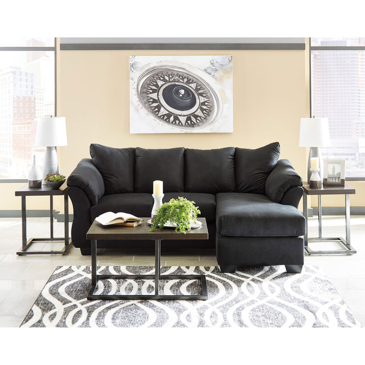 Marcy Black Chaise Sofa