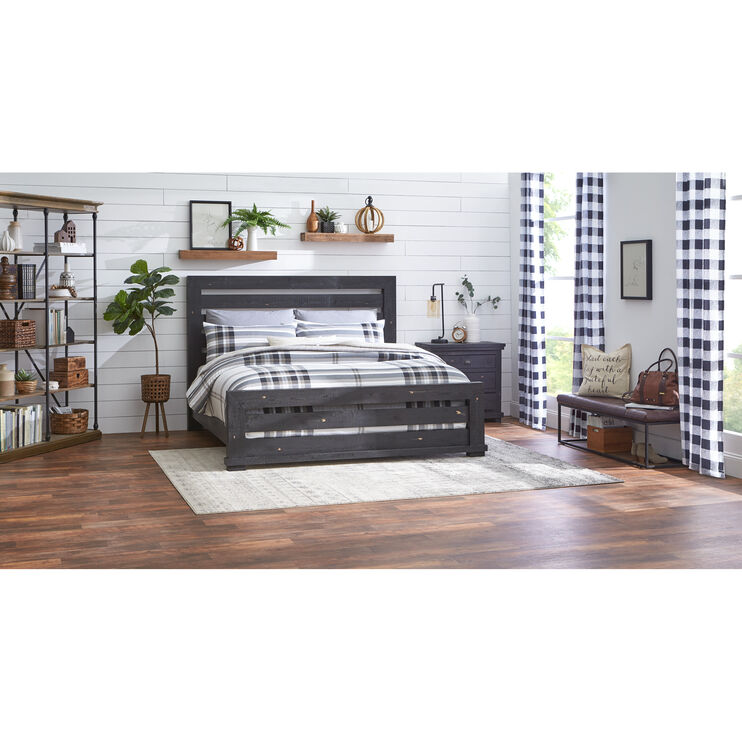 Willow Distressed Black King Slat Bed