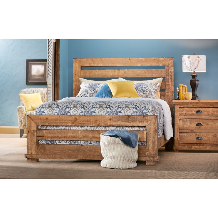 Willow Distressed Pine Queen Slat Bed