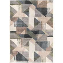 Mystical Deco Town Muted Blue 5x8 Rug