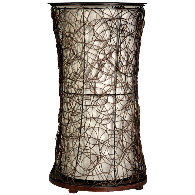 Tiffin Rattan and Wood Accent Table Floor Lamp