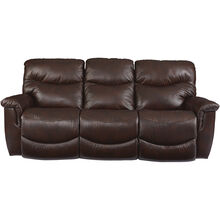 James Leather Walnut Power Sofa