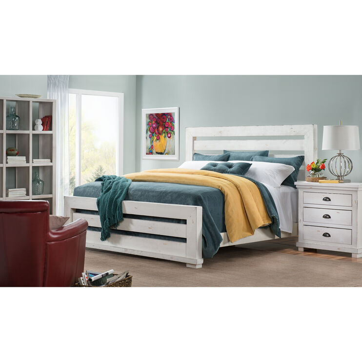 Willow Distressed White Queen Slat Bed
