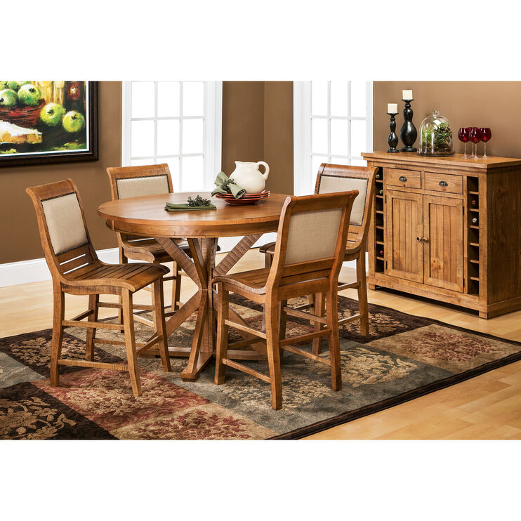 Willow Distressed Pine 5 Piece Round Counter Set