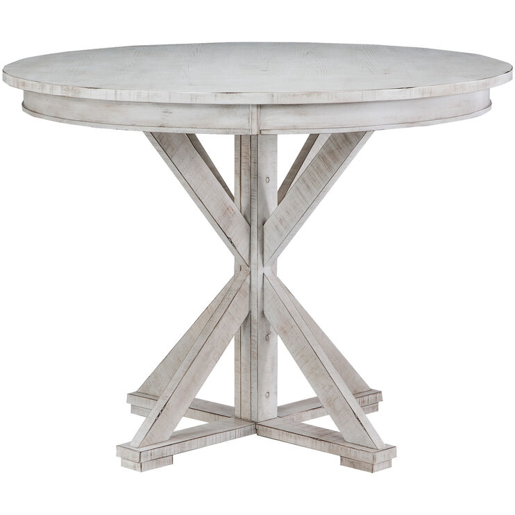 Willow Distressed White Round Counter Table