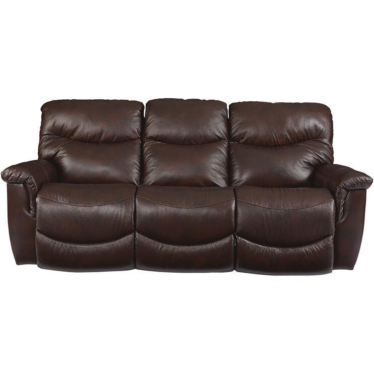 James Leather Walnut Power Sofa