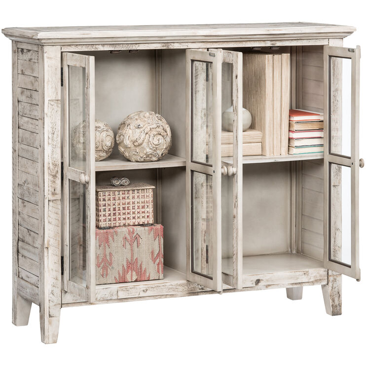 Rustic Shores Antique White 4 Door Cabinet