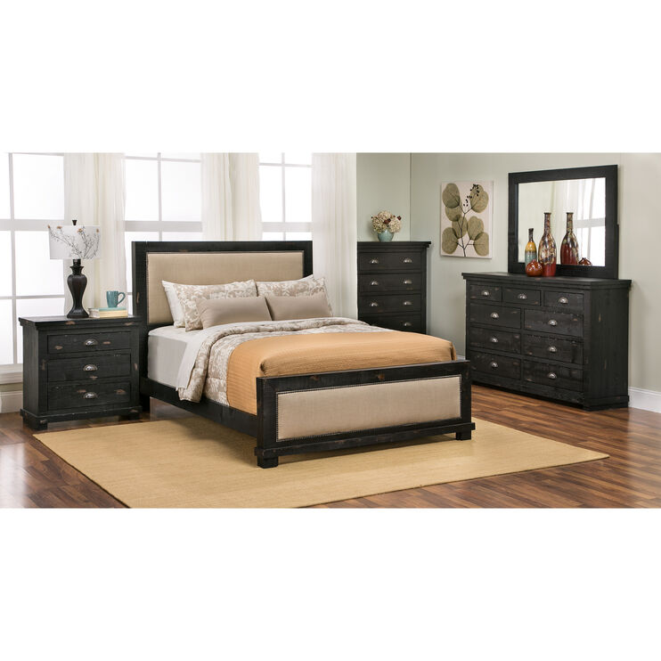 Willow Black Queen Upholstered Bed