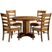 Bennett Smokey Quartz 5 Piece Upholstered Round Dining Set