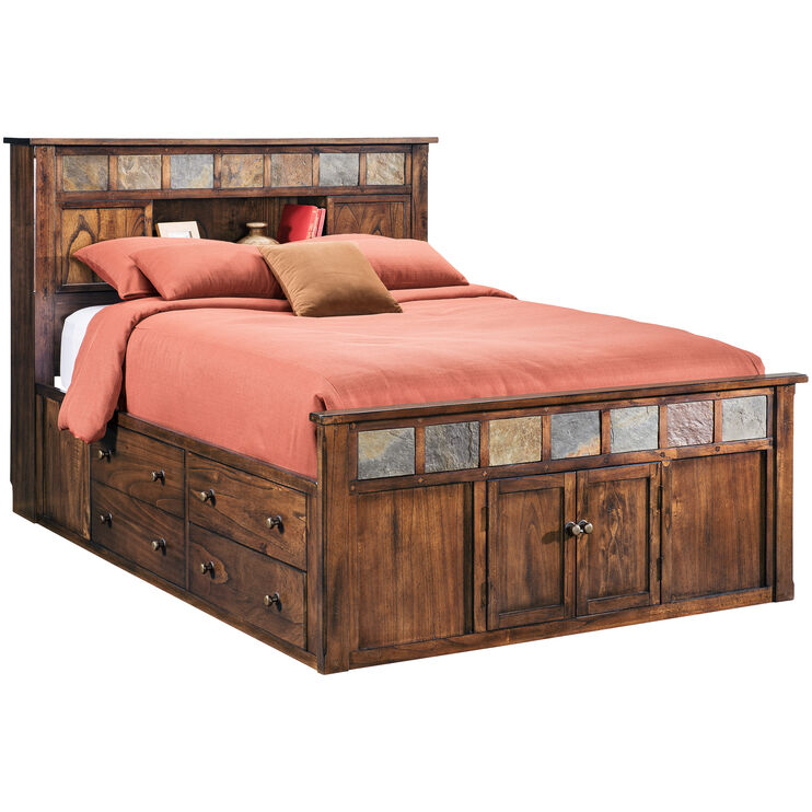 Sante Fe Chocolate King Bookcase Captains Bed
