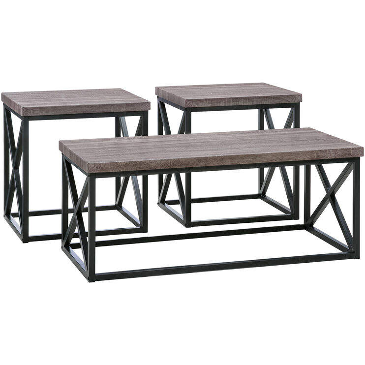 Luddington Dark Gray Set of 3 Tables