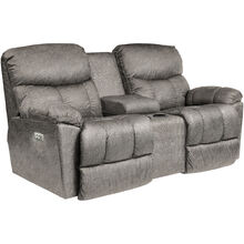 Morrison Silver Power Plus Reclining Console Loveseat