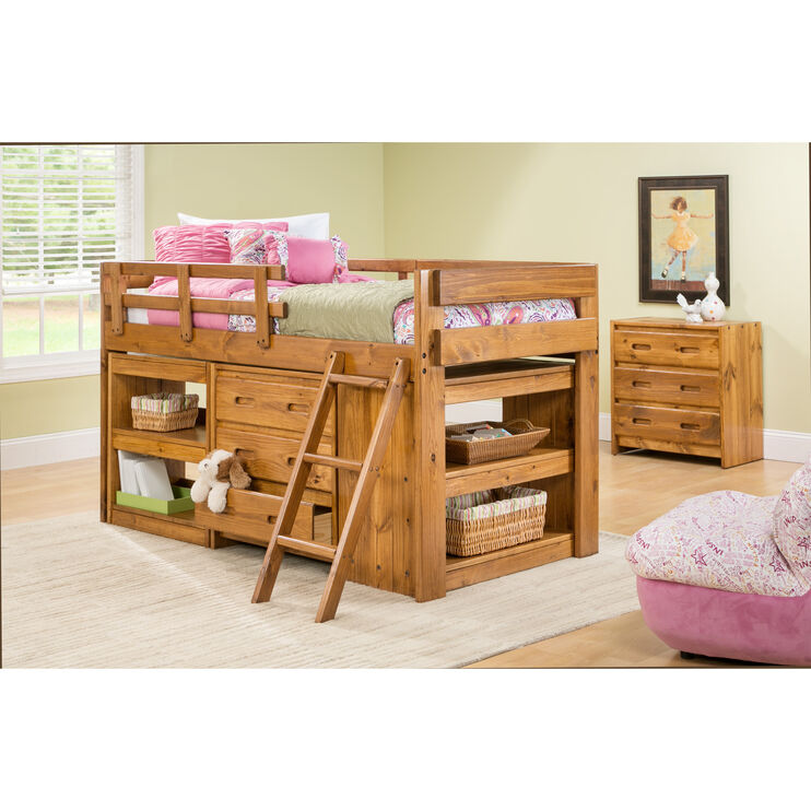 Ashville Honey Shelf Storage Loft Bed